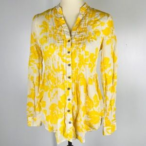 Maeve Anthro Yellow White Floral Peplum Blouse 2